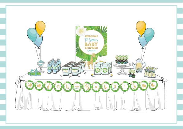 Table Safari Chic Baby Shower